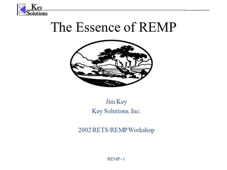 REMP - 1 The Essence of REMP Jim Key Key Solutions, Inc. 2002 RETS/REMP Workshop.