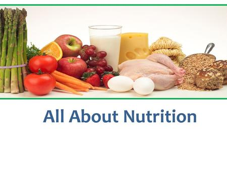 All About Nutrition. Dietary Guidelines for Americans 2012 1.Eat a variety of foods.Eat 2. Balance the food you eat with physical activity. 3. Choose.