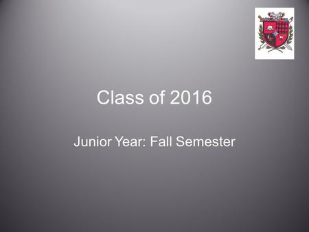 Class of 2016 Junior Year: Fall Semester. Goals At the conclusion of this presentation you will better understand: –the post-secondary options available.