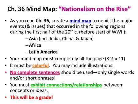 """Nationalism on the Rise"" Ch. 36 Mind Map: ""Nationalism on the Rise"" mind map As you read Ch. 36, create a mind map to depict the major events (& issues)"
