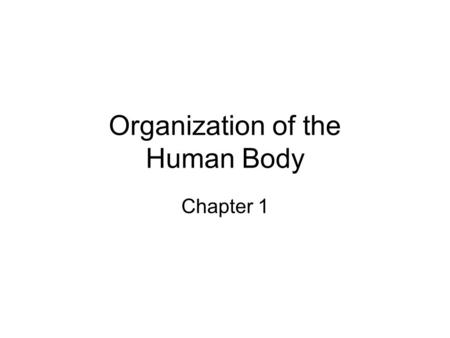 Organization of the Human Body Chapter 1. Learner Outcome: To define and describe the levels of organization within the human body and to begin to use.