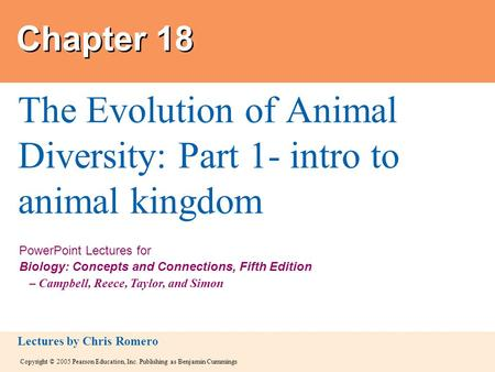 The Evolution of Animal Diversity: Part 1- intro to animal kingdom