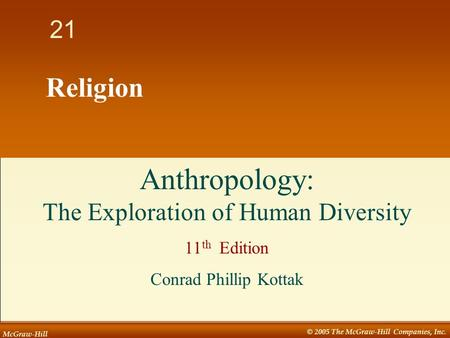 McGraw-Hill © 2005 The McGraw-Hill Companies, Inc. 1 21 Religion Anthropology: The Exploration of Human Diversity 11 th Edition Conrad Phillip Kottak.