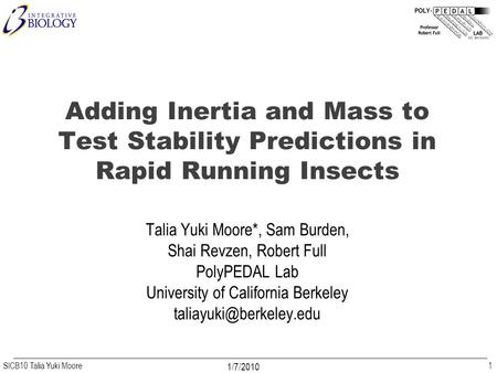 SICB10 Talia Yuki Moore 1/7/2010 Adding Inertia and Mass to Test Stability Predictions in Rapid Running Insects Talia Yuki Moore*, Sam Burden, Shai Revzen,