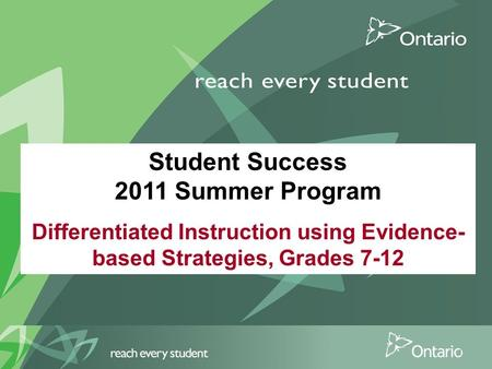Student Success 2011 Summer Program