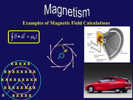 Examples of Magnetic Field Calculations x x x x x x x x x x x x x x x x x x x x x x x x x x x x x x x x x x x r a  dl I.
