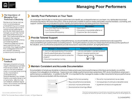 Corporate Leadership Council © 2009 The Corporate Executive Board Company. All Rights Reserved. Managing Poor Performers Identify Poor Performers on Your.