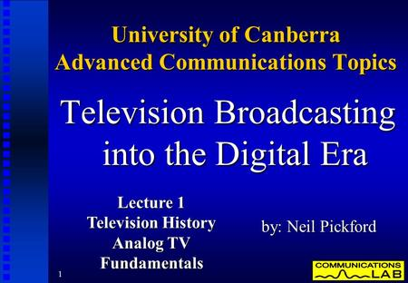 An introduction to hdtv high definition television broadcasting
