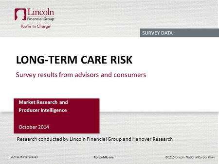 ©2015 Lincoln National CorporationFor public use. LCN-1146943-031115 LONG-TERM CARE RISK Survey results from advisors and consumers Market Research and.