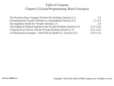 Table of Contents Chapter 2 (Linear Programming: Basic Concepts) The Wyndor Glass Company Product Mix Problem (Section 2.1)2.2 Formulating the Wyndor Problem.