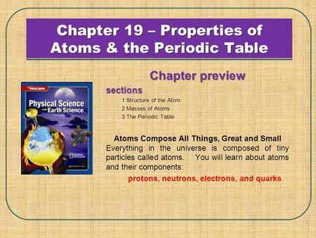 Chapter 19 – Properties of Atoms & the Periodic Table