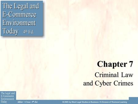 Miller Cross 4 th Ed. © 2005 by West Legal Studies in Business / A Division of Thomson Learning Chapter 7 Criminal Law and Cyber Crimes.