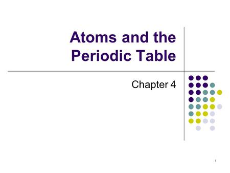 1 Atoms and the Periodic Table Chapter 4. 2 Atomic Structure Atoms are the simplest unit of a substance that still maintain the properties of the substance.
