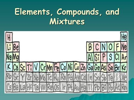 Elements, Compounds, and Mixtures Pure Substances  A sample of matter that has definite chemical and physical properties.