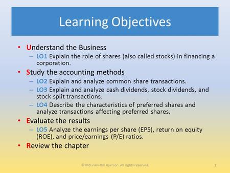 Learning Objectives Understand the Business – LO1 Explain the role of shares (also called stocks) in financing a corporation. Study the accounting methods.