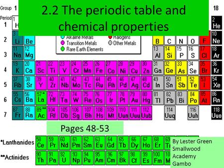 2.2 The periodic table and chemical properties