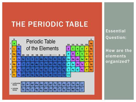 Essential Question: How are the elements organized? THE PERIODIC TABLE.