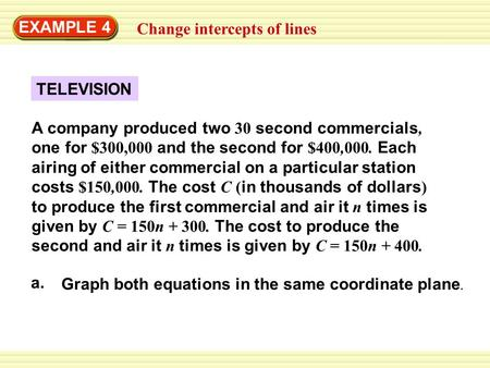 EXAMPLE 4 Change intercepts of lines TELEVISION A company produced two 30 second commercials, one for $300,000 and the second for $400,000. Each airing.