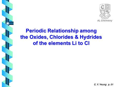 Periodic Relationship among the Oxides, Chlorides & Hydrides