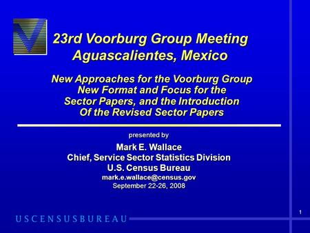 1 23rd Voorburg Group Meeting Aguascalientes, Mexico New Approaches for the Voorburg Group New Format and Focus for the Sector Papers, and the Introduction.