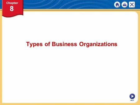 NEXT Types of Business Organizations. NEXT The Characteristics of Sole Proprietorships KEY CONCEPTS Business organizations—produce goods, provide services.