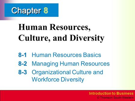 Introduction to Business © Thomson South-Western ChapterChapter Human Resources, Culture, and Diversity 8-1 8-1Human Resources Basics 8-2 8-2Managing Human.