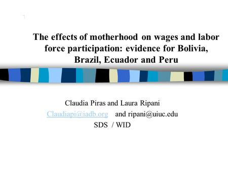 The effects of motherhood on wages and labor force participation: evidence for Bolivia, Brazil, Ecuador and Peru Claudia Piras and Laura Ripani