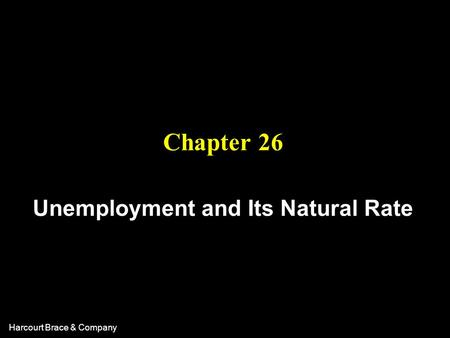 Harcourt Brace & Company Chapter 26 Unemployment and Its Natural Rate.