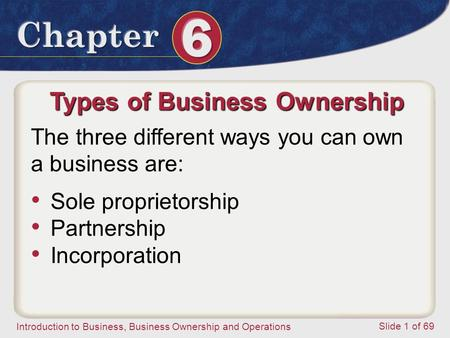 Introduction to Business, Business Ownership and Operations Slide 1 of 69 Types of Business Ownership The three different ways you can own a business are: