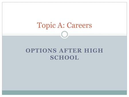 OPTIONS AFTER HIGH SCHOOL Topic A: Careers. Options after High School On average, you will earn almost twice as much in your lifetime with a college degree.
