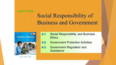SLIDE 1 4-1 4-1Social Responsibility and Business Ethics 4-2 4-2Government Protection Activities 4-3 4-3Government Regulation and Assistance 4 C H A P.