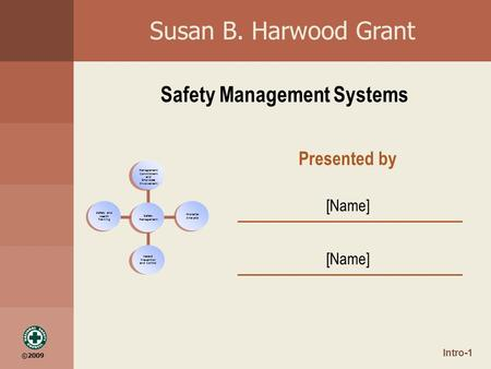 ©2009 Susan B. Harwood Grant Safety Management Systems Safety Management Worksite Analysis Management Commitment and Employee Involvement Hazard Prevention.