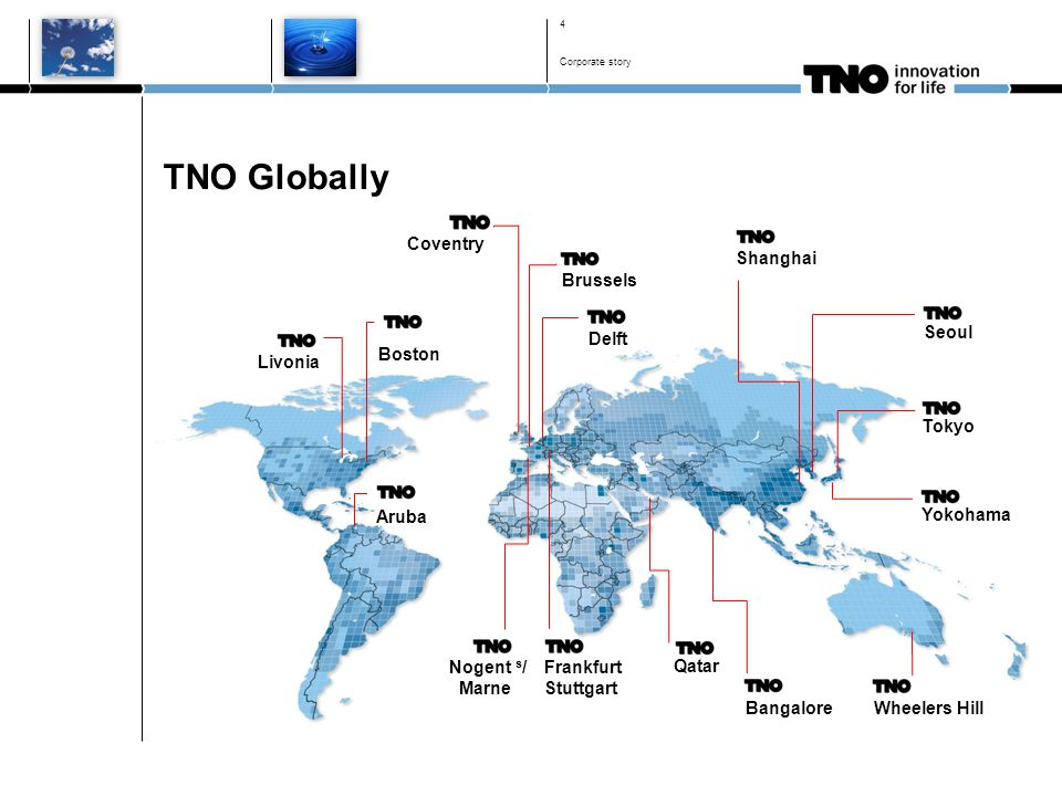 The power of TNO From idea to innovation Corporate story 5 Knowledge development Knowledge application Knowledge exploitation Develop fundamental knowledge With universities With partners With customers Embedded in the market