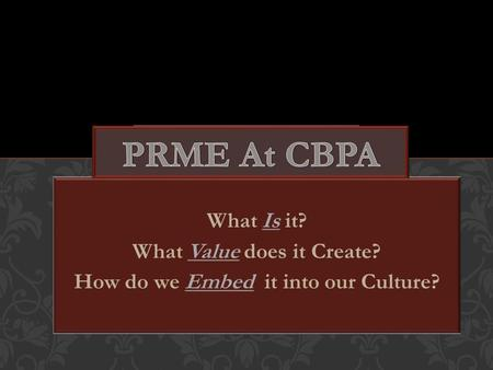What Is it? What Value does it Create? How do we Embed it into our Culture?