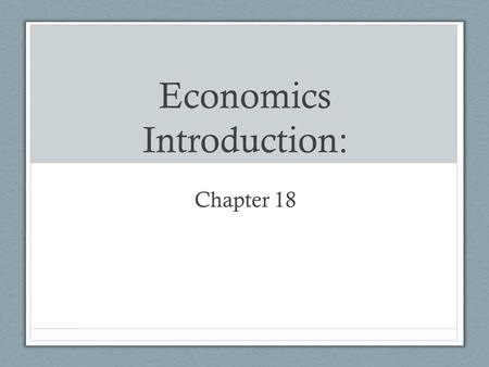 Economics Introduction: