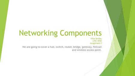 Networking Components Mike Yardley LTEC 4550 Assignment 3