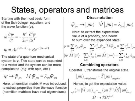 States, operators and matrices Starting with the most basic form of the Schrödinger equation, and the wave function (  ): The state of a quantum mechanical.