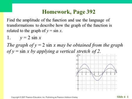 Copyright © 2007 Pearson Education, Inc. Publishing as Pearson Addison-Wesley Slide 4- 1 Homework, Page 392 Find the amplitude of the function and use.