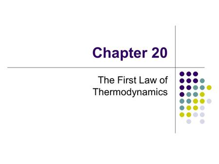 Chapter 20 The First Law of Thermodynamics. Thermodynamics – Historical Background Thermodynamics and mechanics were considered to be distinct branches.