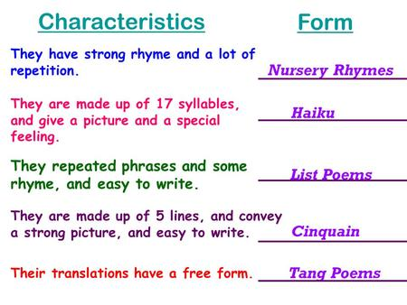 Nursery Rhymes They have strong rhyme and a lot of repetition. List Poems They repeated phrases and some rhyme, and easy to write. Cinquain They are made.