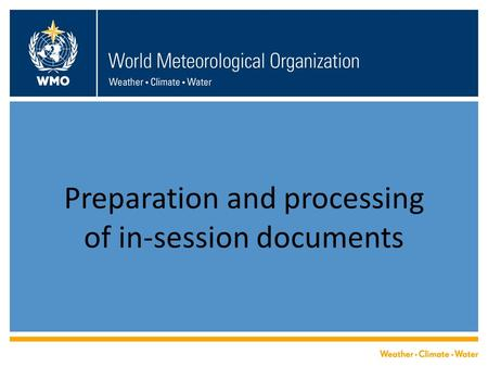 Preparation and processing of in-session documents.