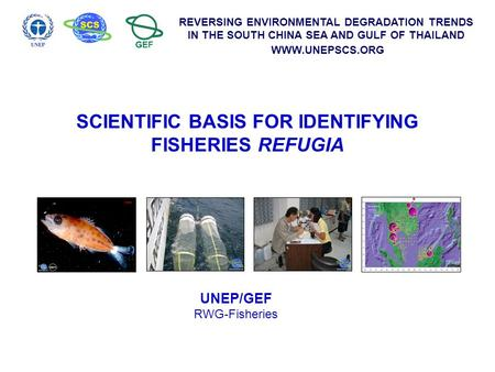 REVERSING ENVIRONMENTAL DEGRADATION TRENDS IN THE SOUTH CHINA SEA AND GULF OF THAILAND WWW.UNEPSCS.ORG SCIENTIFIC BASIS FOR IDENTIFYING FISHERIES REFUGIA.