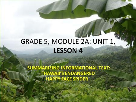"GRADE 5, MODULE 2A: UNIT 1, LESSON 4 SUMMARIZING INFORMATIONAL TEXT: ""HAWAII'S ENDANGERED HAPPY FACE SPIDER"""