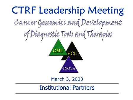 CTRF Leadership Meeting Institutional Partners March 3, 2003.