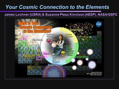 Your Cosmic Connection to the Elements James Lochner (USRA) & Suzanne Pleau Kinnison (AESP), NASA/GSFC.