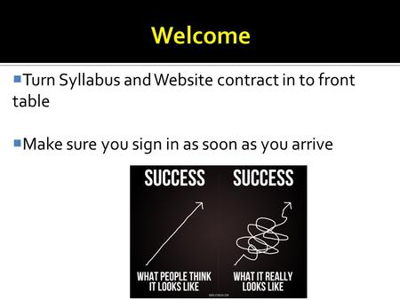  Turn Syllabus and Website contract in to front table  Make sure you sign in as soon as you arrive.