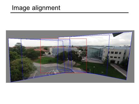 Image alignment. Image alignment: Motivation Panorama stitching Recognition of object instances.