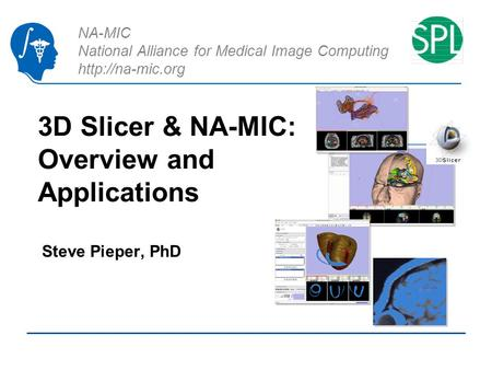NA-MIC National Alliance for Medical Image Computing  3D Slicer & NA-MIC: Overview and Applications Steve Pieper, PhD.