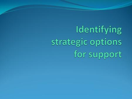 Learning objectives Participants will gain insight into: Elements to take into account when designing a support strategy: different entry points of support.