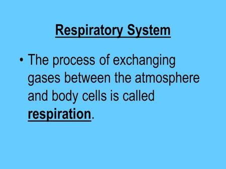 Respiratory System The process of exchanging gases between the atmosphere and body cells is called respiration.